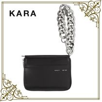 KARA Casual Style Chain Plain Leather Clutches