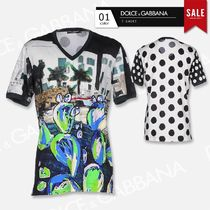 Dolce & Gabbana Unisex V-Neck Cotton Short Sleeves Luxury V-Neck T-Shirts