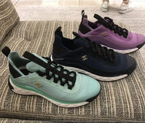 CHANEL Suede Blended Fabrics Plain Sneakers