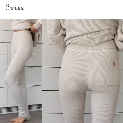 Silk Nylon Blended Fabrics Plain Cotton Leggings Pants