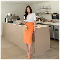 Pencil Skirts Casual Style Linen Plain Long Elegant Style
