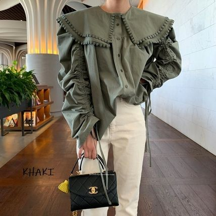 Lace-up Casual Style Chiffon Blended Fabrics Street Style