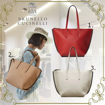 BRUNELLO CUCINELLI Casual Style A4 Plain Leather Office Style Elegant Style