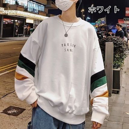 Sweatshirts Crew Neck Pullovers Stripes Unisex Street Style Long Sleeves