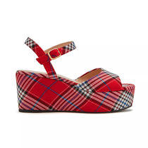 Mulberry Tartan Open Toe Platform Casual Style Party Style