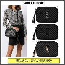 Saint Laurent LOU Casual Style Tassel Plain Leather Party Style Office Style