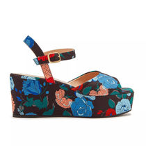 Mulberry Flower Patterns Open Toe Platform Casual Style Party Style