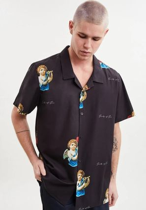 Pullovers Button-down Unisex Short Sleeves Logo Front Button