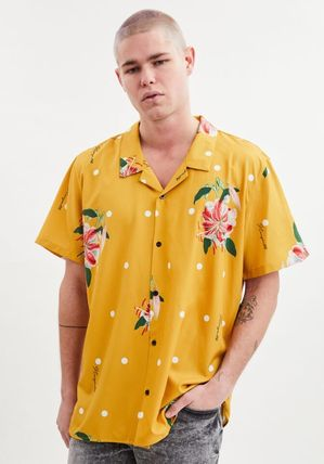 Pullovers Button-down Flower Patterns Dots Tropical Patterns