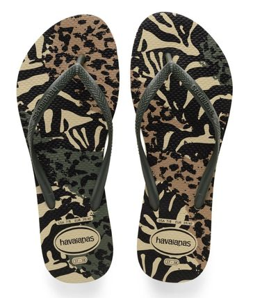 Camouflage Open Toe Rubber Sole Casual Style Plain