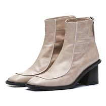 Straight Tip Plain Toe Unisex Street Style Plain Leather