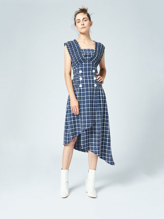 Other Plaid Patterns Sleeveless Cotton Medium Elegant Style