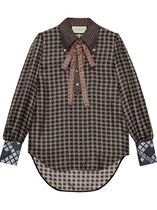 GUCCI Gingham Casual Style Silk Long Sleeves Office Style