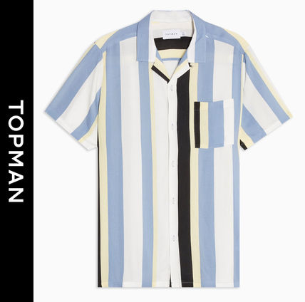 Stripes Linen Street Style Short Sleeves Shirts