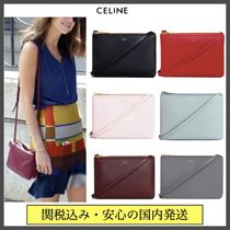 CELINE Trio Bag Casual Style Lambskin Plain Party Style Office Style
