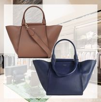 MaxMara Casual Style A4 2WAY Plain Leather Office Style