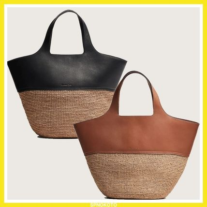 Lambskin Blended Fabrics A4 Plain Leather Logo Straw Bags