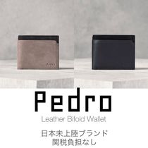 Pedro Calfskin Plain Leather Folding Wallets