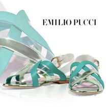 Emilio Pucci Open Toe Casual Style Leather PVC Clothing Strap Sandals