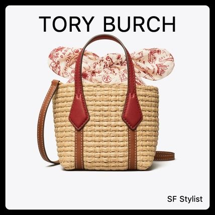 Tory Burch PERRY Tropical Patterns Unisex Blended Fabrics 2WAY Plain Leather