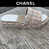 CHANEL Open Toe Platform Casual Style Tweed Blended Fabrics Plain