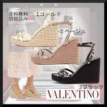 VALENTINO Studded Leather Party Style Logo Platform & Wedge Sandals