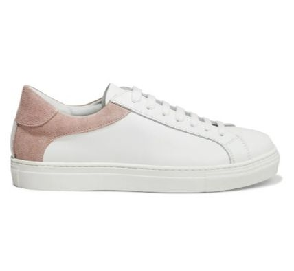 Round Toe Rubber Sole Lace-up Suede Bi-color Leather