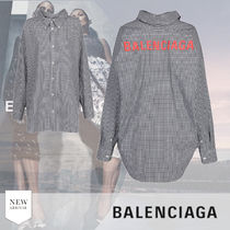 BALENCIAGA Gingham Casual Style Long Sleeves Cotton Medium Party Style
