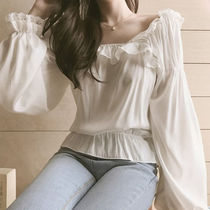 Casual Style Long Sleeves Lace Elegant Style Puff Sleeves