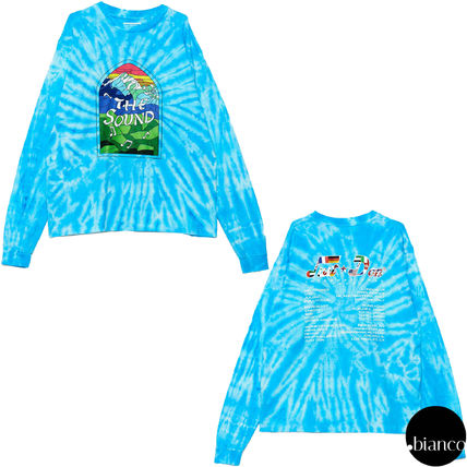 Crew Neck Street Style Tie-dye Long Sleeves Cotton
