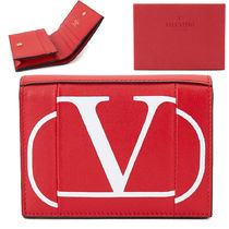 VALENTINO VRING Plain Leather Logo Folding Wallets