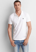 American Eagle Outfitters Street Style Plain Short Sleeves Logo Polos