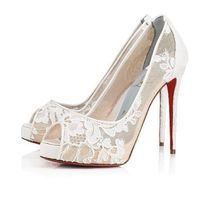 Christian Louboutin Flower Patterns Open Toe Platform Pin Heels Elegant Style