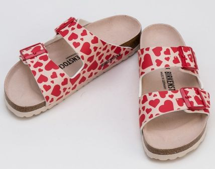 Heart Open Toe Platform Round Toe Rubber Sole Casual Style