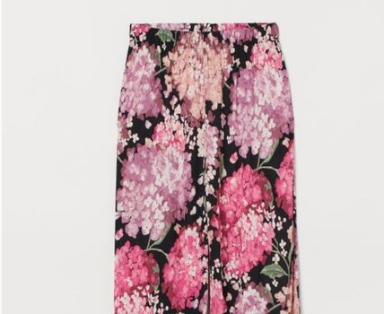 Flower Patterns Casual Style Long Elegant Style Pants