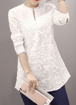 Crew Neck Flower Patterns Nylon Long Sleeves Plain Cotton