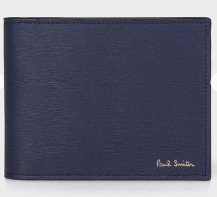 Paul Smith Unisex Bi-color Plain Leather Folding Wallet Logo Money Clip