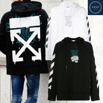 Off-White Pullovers Stripes Unisex Street Style Long Sleeves Cotton