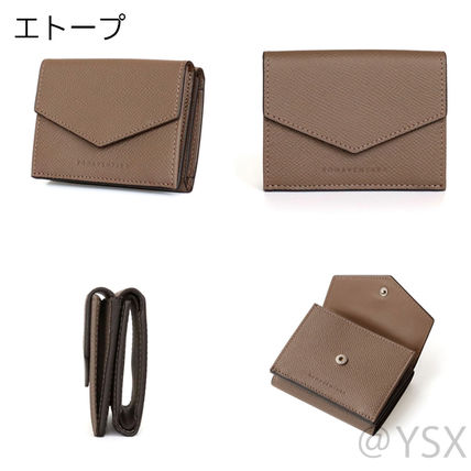 Calfskin Plain Leather Folding Wallet Small Wallet Logo