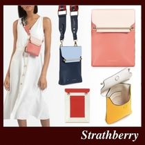 STRATHBERRY Casual Style Calfskin 2WAY Bi-color Leather Handmade