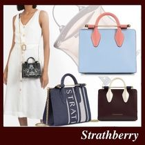 STRATHBERRY Stripes Casual Style Calfskin 2WAY Bi-color Leather