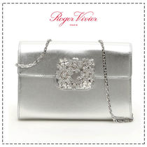 Roger Vivier Casual Style Calfskin Plain Leather Party Style With Jewels