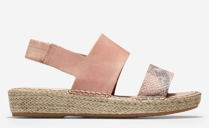 Rubber Sole Casual Style Plain Leather Sandals