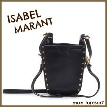 Isabel Marant Casual Style Studded 2WAY Plain Leather Purses Bucket Bags