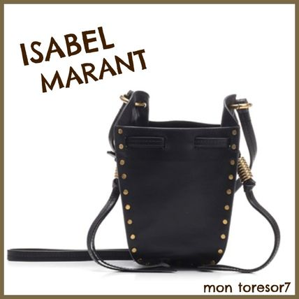 Casual Style Studded 2WAY Plain Leather Purses Bucket Bags
