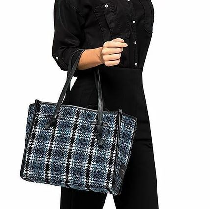 Other Plaid Patterns Casual Style Office Style Co-ord Totes