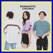 ROMANTIC CROWN Unisex Street Style Short Sleeves Logo T-Shirts
