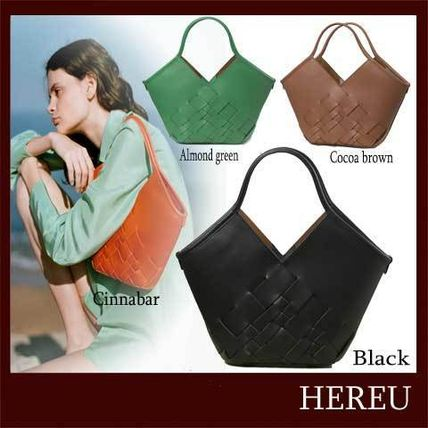 Casual Style Plain Leather Office Style Totes