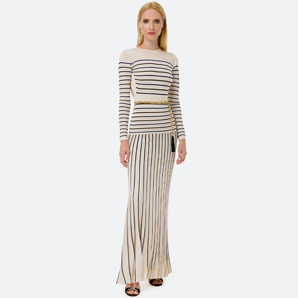 Crew Neck Stripes Casual Style Tight Maxi A-line Flared