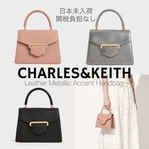 Charles&Keith Casual Style 2WAY Plain Leather Party Style With Jewels